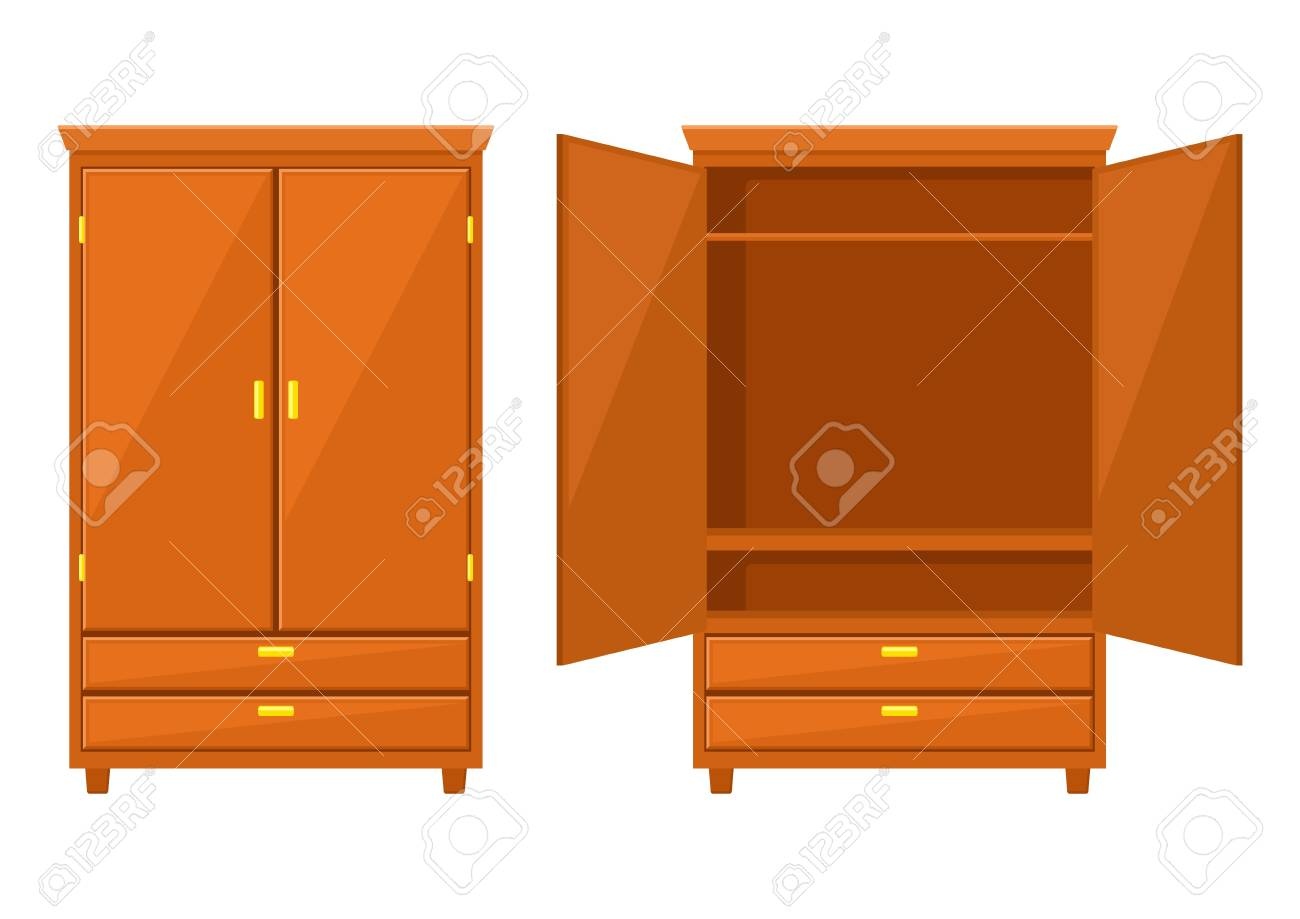 Open and closet wardrobe isolated on white background .Natural wooden Furniture. Wardrobe icon in flat style. Room interior element cabinet to create apartments design. Vector illustration - 112377687