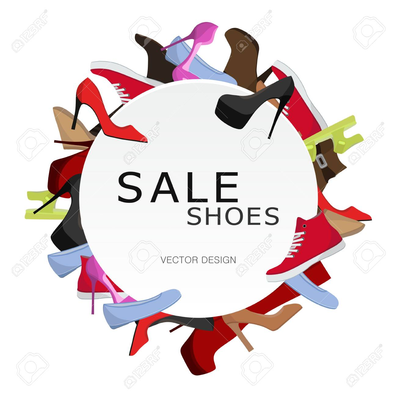 Female Shoes Sale Round Frame, Colorful