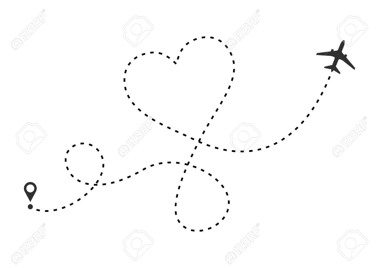 Love airplane route. Heart dashed line trace and plane routes isolated on white background. Romantic wedding travel, Honeymoon trip. Hearted plane path drawing. Vector illustration - 124158068