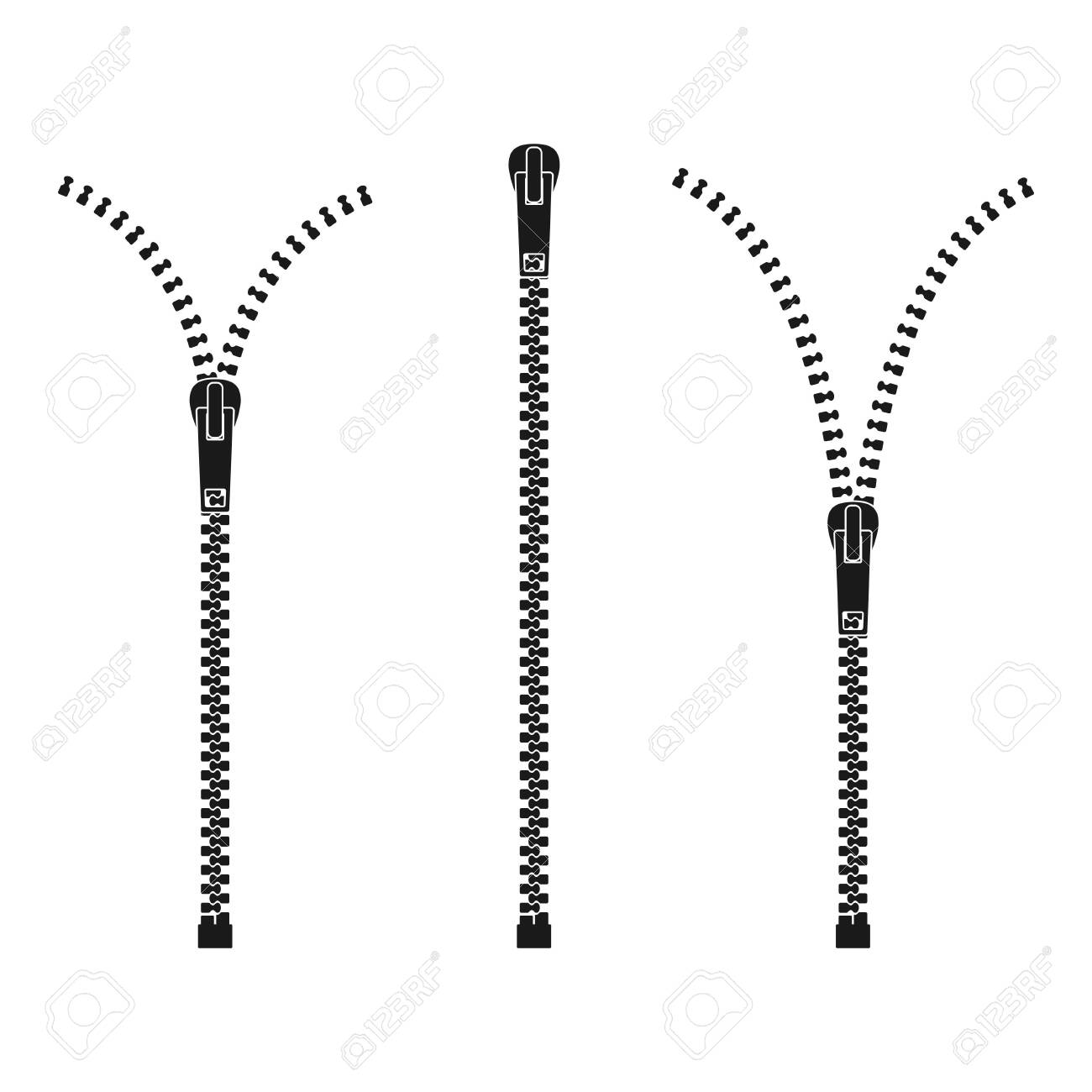 Zipper isolated on white background, Clothes zips, split cloth pulling zip, open or unzipped and close or zipper metal zip set. Vector illustration - 151965000
