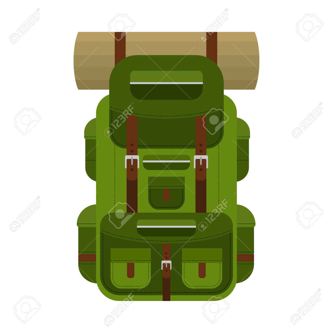 Camping backpack for hiking, travel and tourism isolated on white background. Backpack for camp gears, mats, sleeping bags and etc. Vector illustration - 167032957