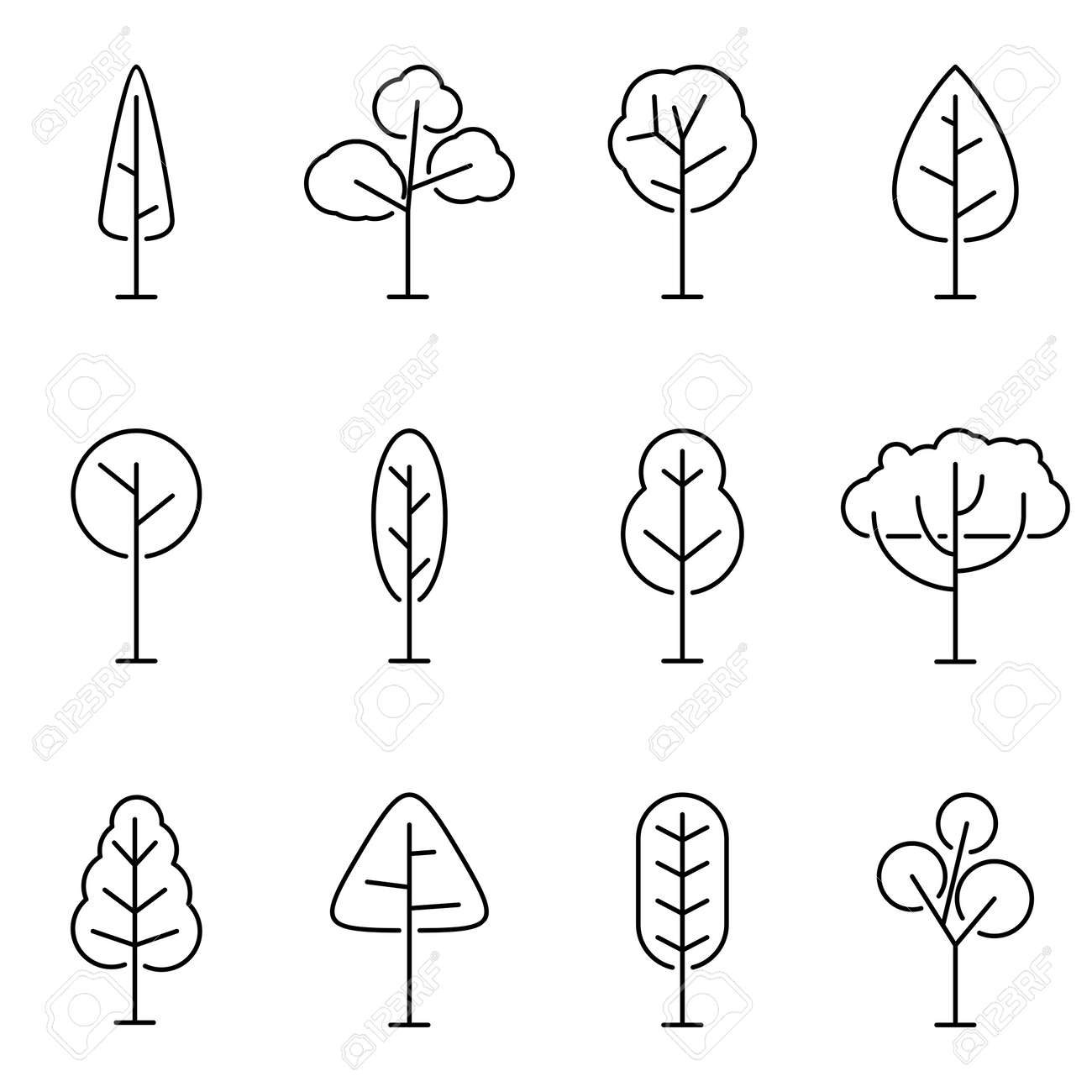 Trees line icon set isolated on white background. Simple and minimalist symbols tree and forest, Vector illustration - 160820976
