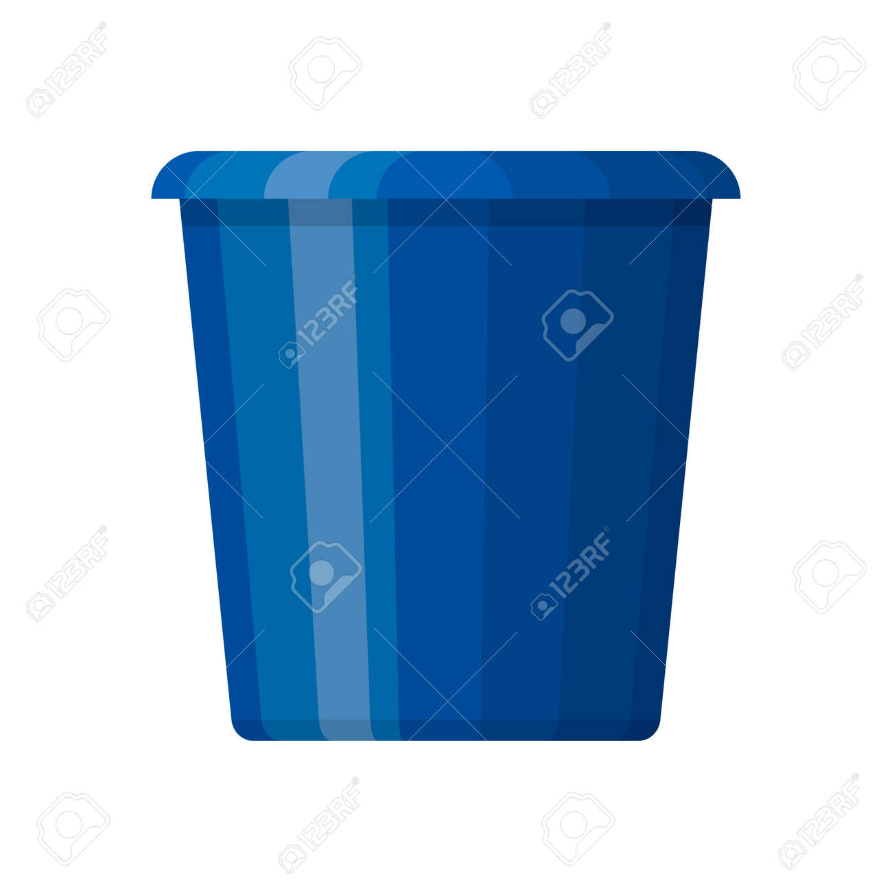 Blue plastic bucket in flat design isolated on white background. House cleaning and gardening equipment. Household accessories. Vector illustration - 162702582