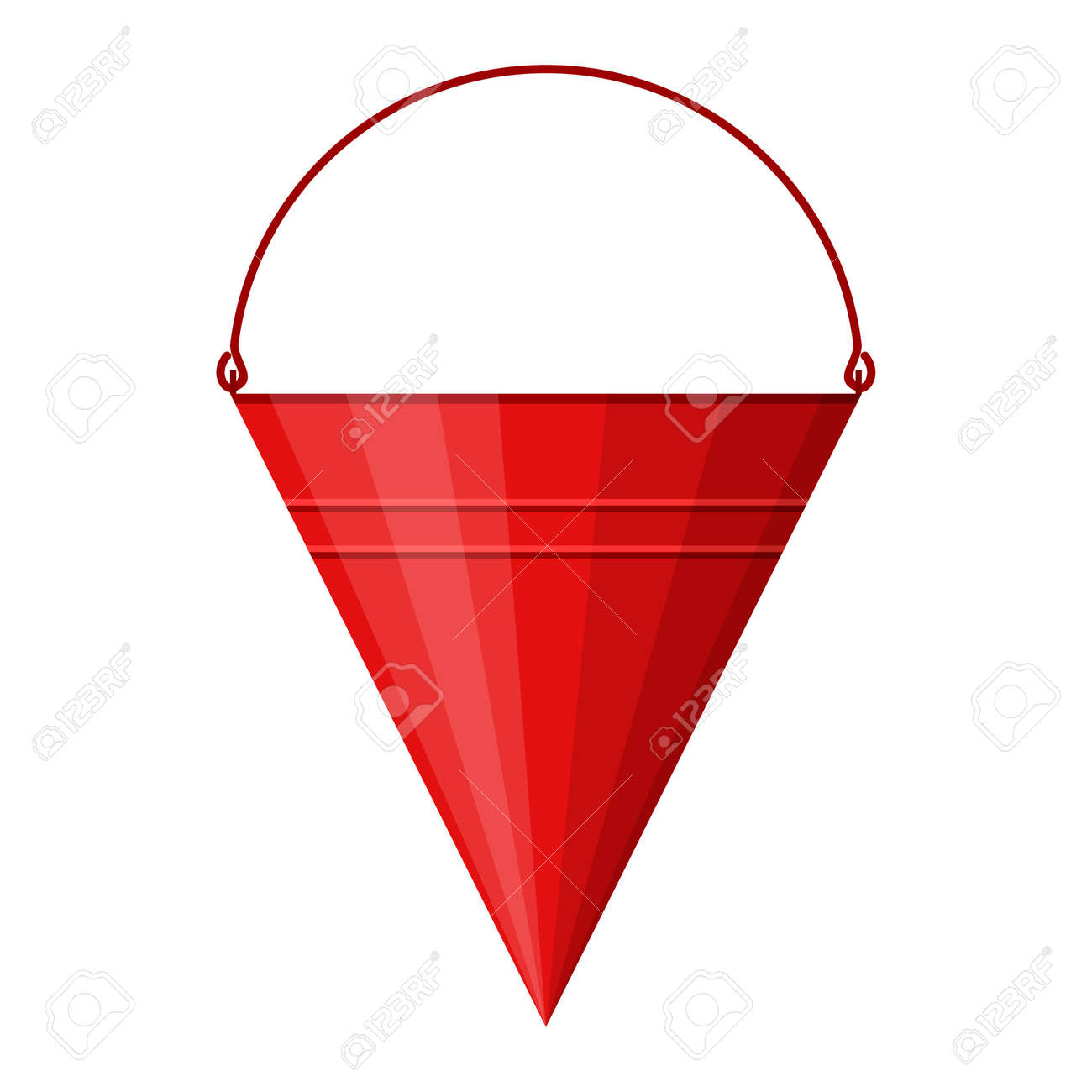 Red cone fire bucket for fire fighting isolated on white background. Bucket for combating small flames. Firefighter equipment. Vector illustration - 162713193
