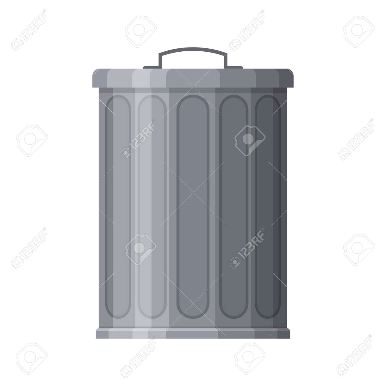 Metal trash bin isolated on white background. Garbage container with closed lid. Steel trash bucket. Vector illustration - 162713194