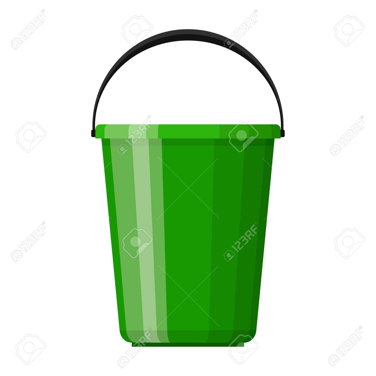 Green plastic bucket with handle in flat design isolated on white background. House cleaning and gardening equipment. Household accessories. Vector illustration - 162713195