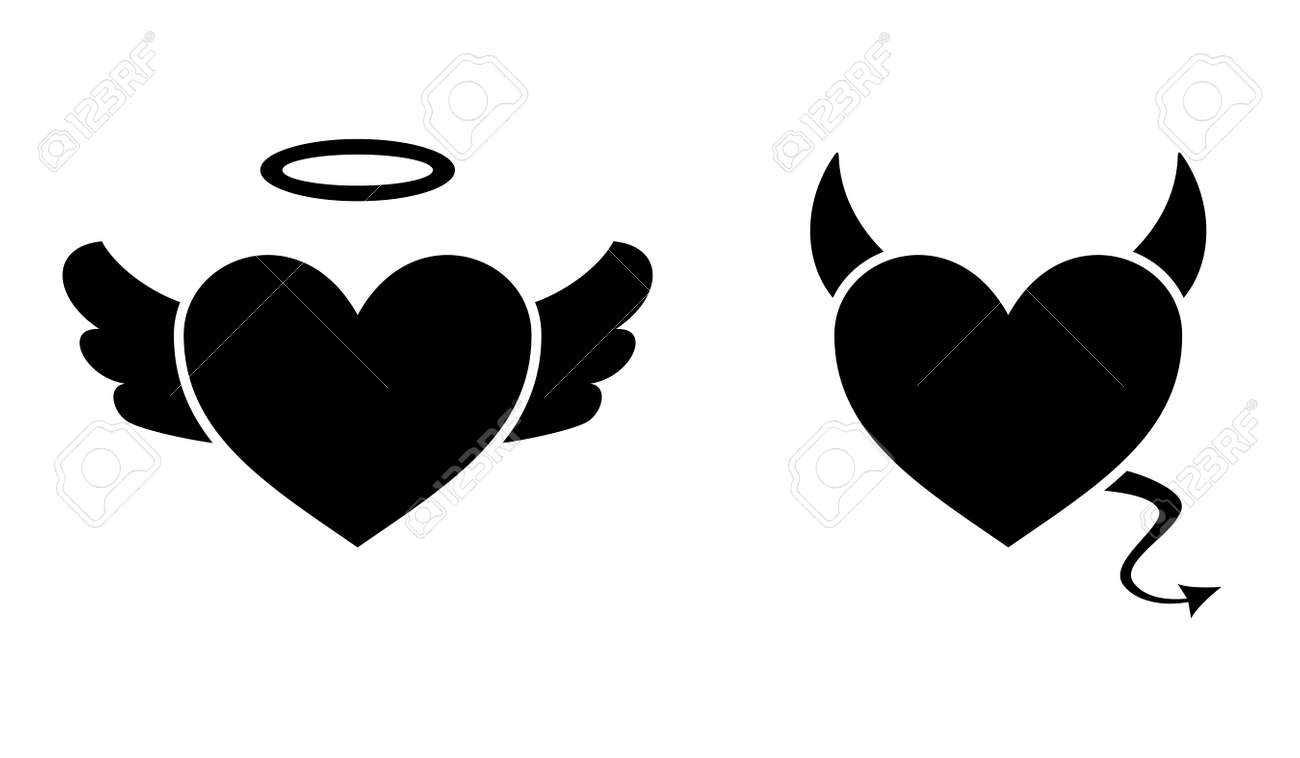 Heart with devil horns and a tail and heart with angel wings and halo isolated on white background, Devil love. Valentine Day concept, Vector illustration - 162713196