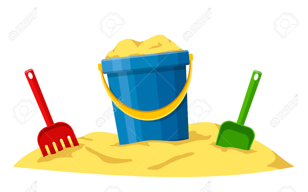 Baby bucket, spade and rake in sand isolated on white background. Toys set for children sandbox and playground, little bucket and shovel. Vector illustration - 162713202