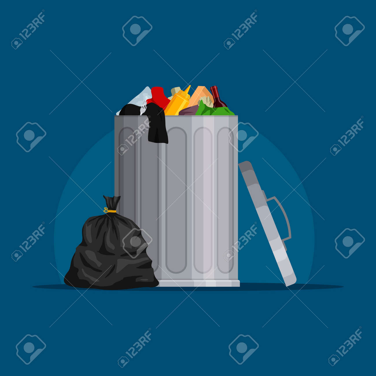 Steel garbage bin full of trash. Trash can with rubbish isolated on blue background. Wheelie bin and trash bag. Scene with pile of waste, Vector illustration - 162713208