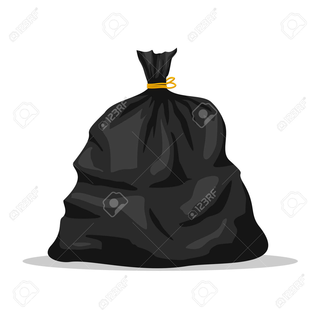 Plastic garbage bag icon isolated on white background. Black container for trash isolated on white. Garbage recycling and utilization equipment. Waste management. Vector illustration - 162713209