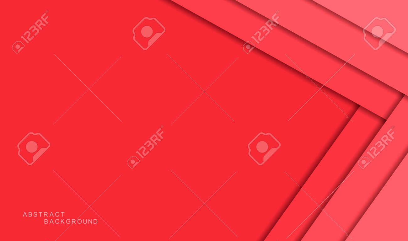 Red abstract background with shadows and color paper sheets. Modern empty banner space for text. 3d paper cut layers. Vector illustration backdrop template - 162713210