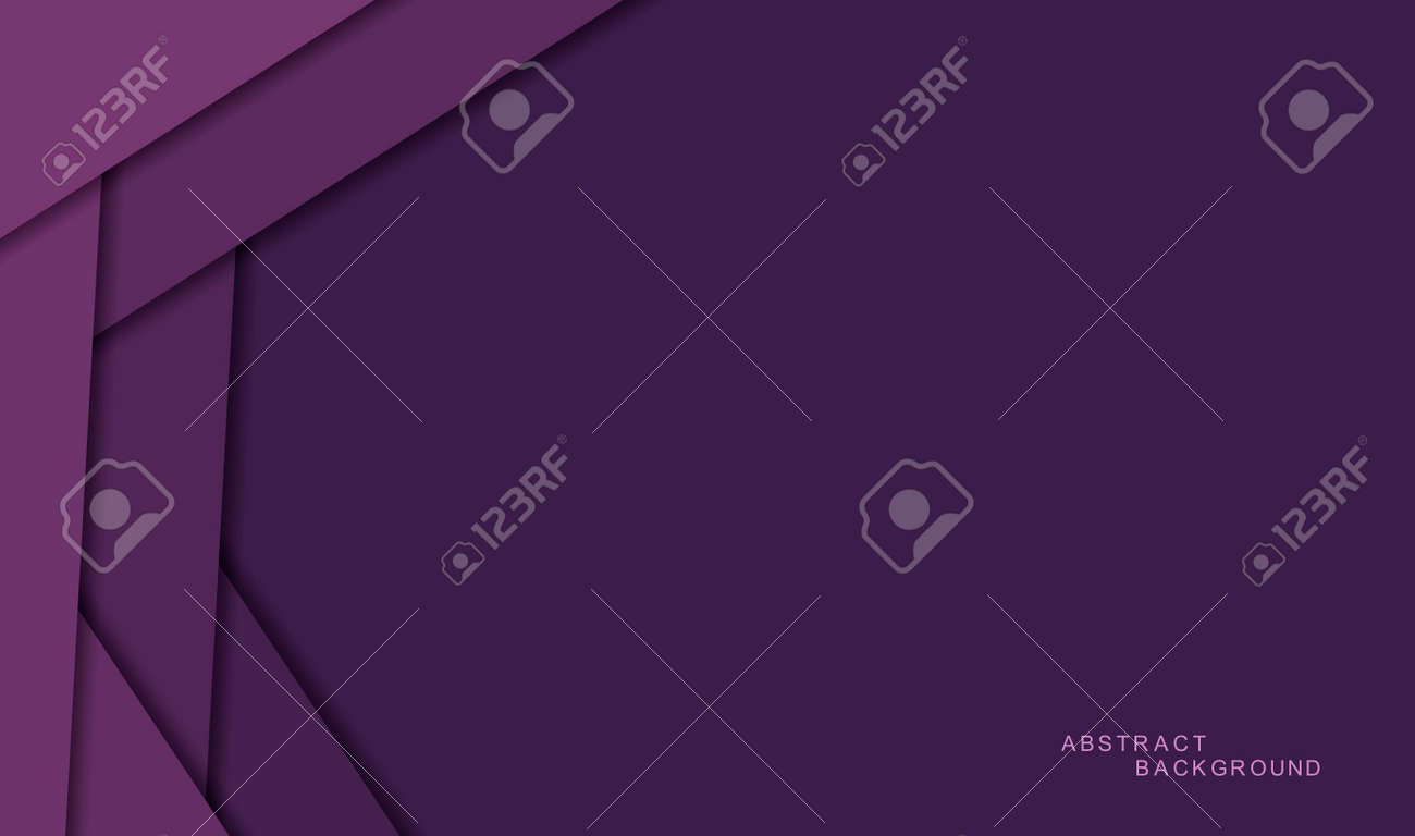 Purple or violet abstract background with shadows and color paper sheets. Modern empty banner space for text. 3d paper cut layers. Vector illustration backdrop template - 162713212