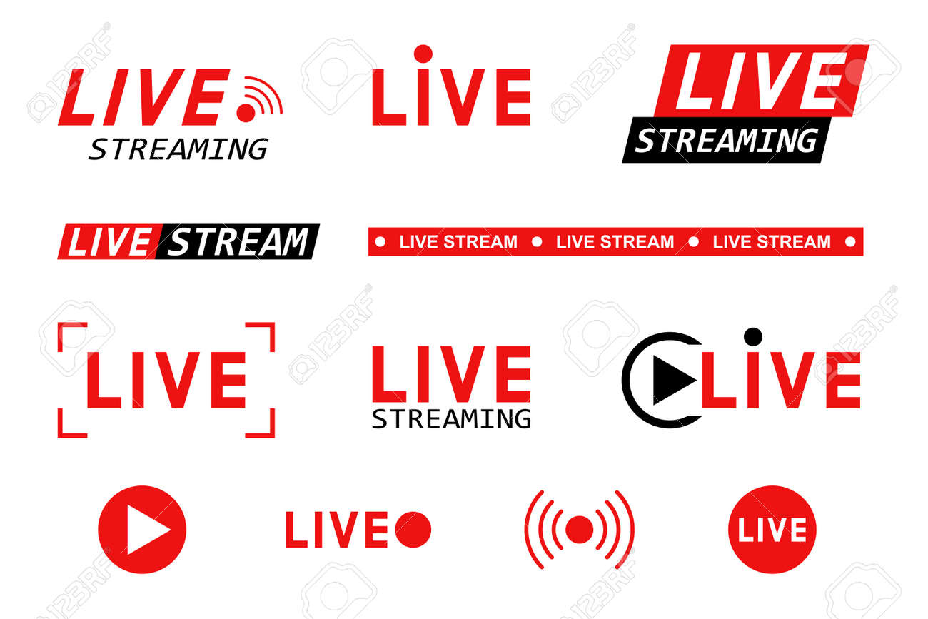 Set of live streaming icons. Red and black symbols and buttons of live streaming, broadcasting, online stream. Template for tv, shows, movies and live performances. Vector illustration - 162713216