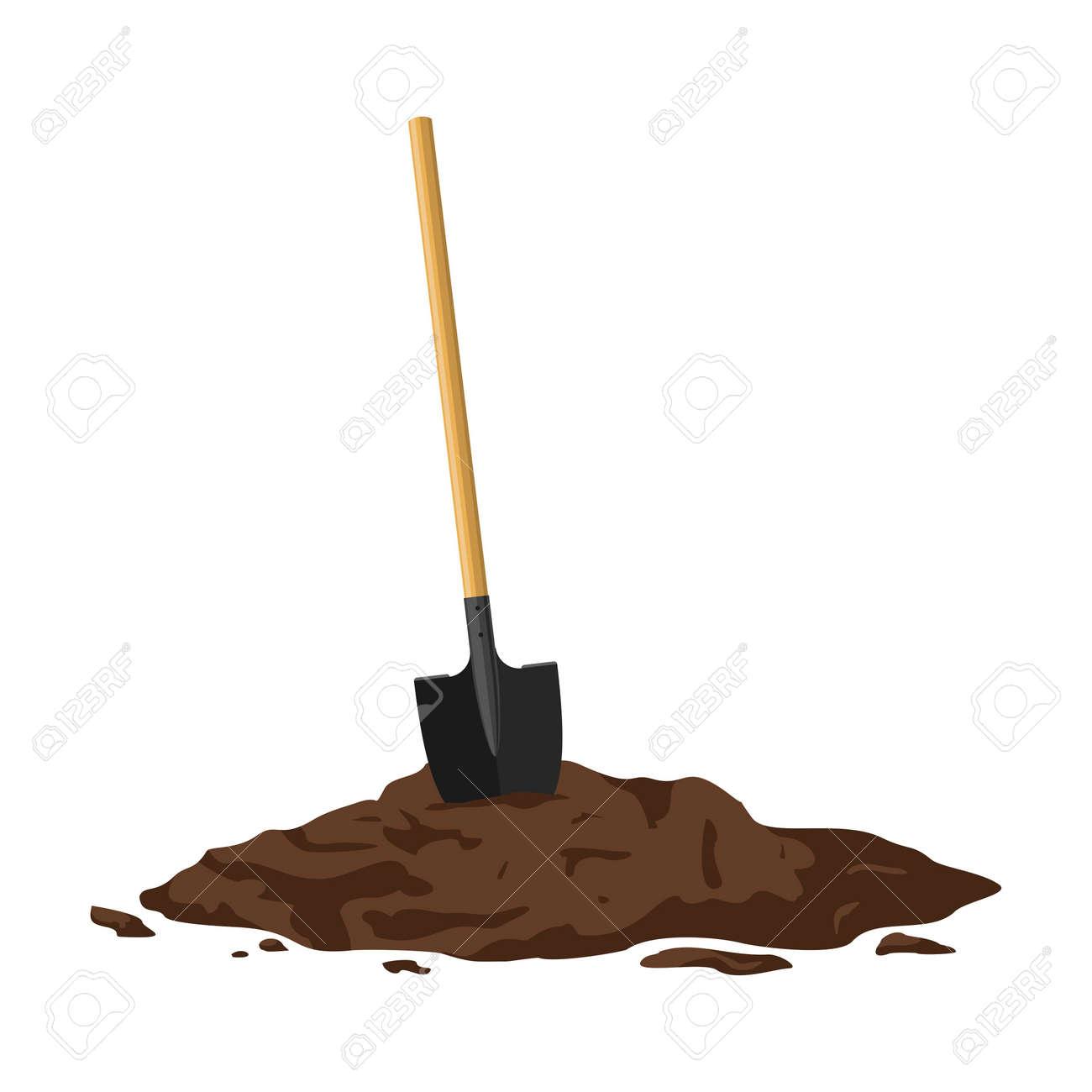 Shovel in a pile of soil isolated on white background. Work tool for outdoor activities, digging, gardening. Construction equipment in heap of dirt. Vector illustration - 163564322