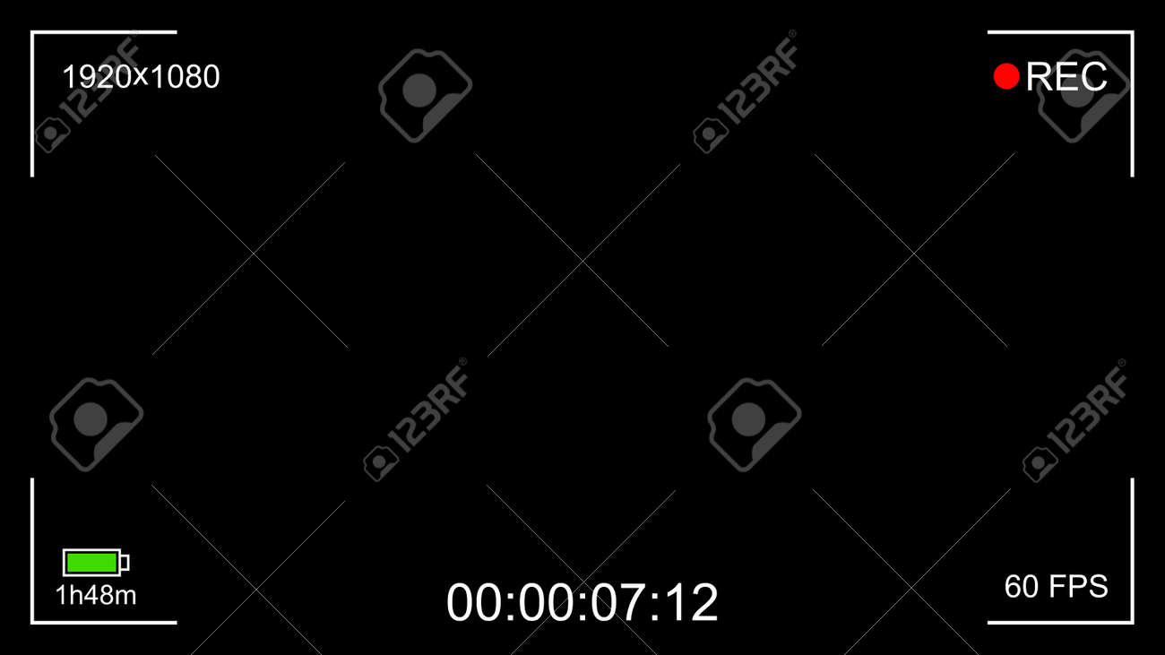 Black camera recording interface viewfinder with digital focus and exposure settings. Screen photography frame with battery status, video quality, Image stabilization. Vector illustration - 163564331