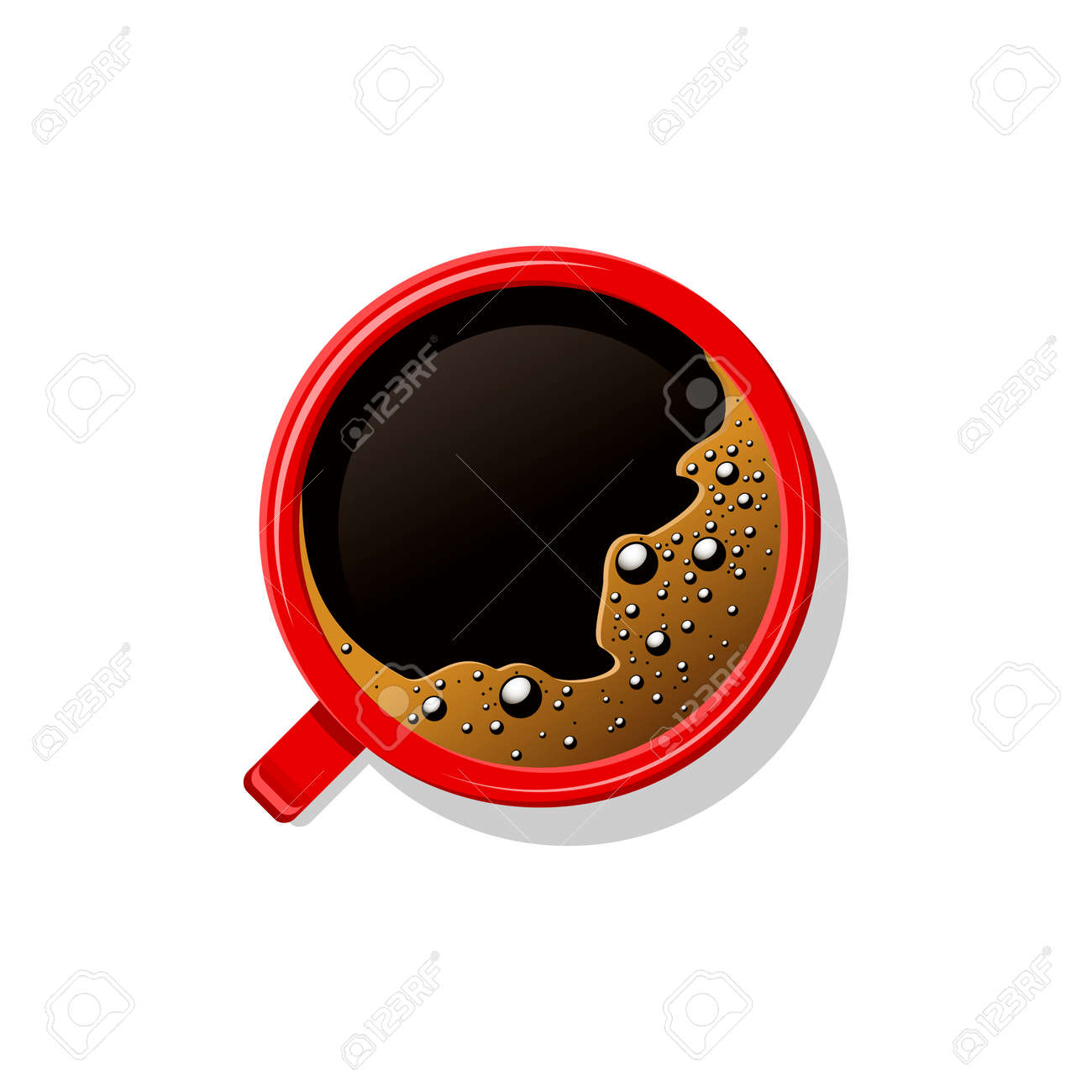 Top view black coffee in red cup isolated on white. Mug of brown coffee with foam and bubbles. Hot beverage, drink in white ceramic, porcelain cup. Vector illustration - 163564333