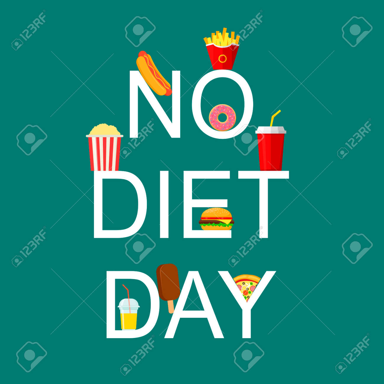 International No Diet Day lettering Vector Illustration. Junk Food icon. Fast food, Suitable for greeting card, poster and banner - 163526920
