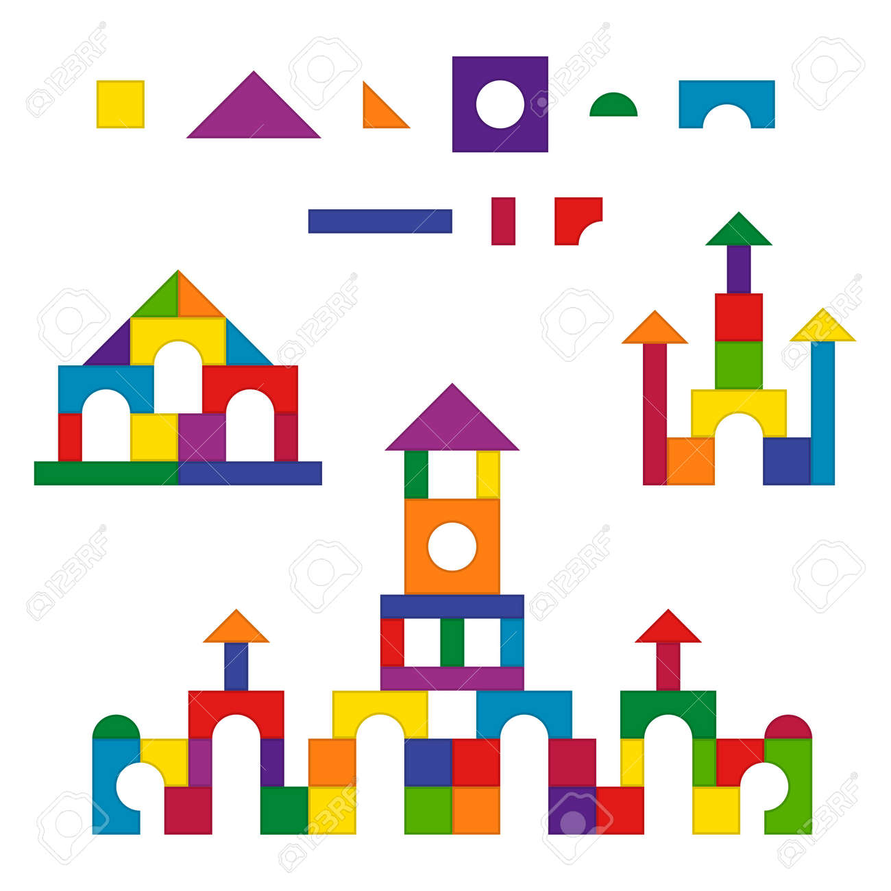 Multicolored wooden kids blocks toy details building kit set. Brick parts for the construction of a children tower, castle, house. Education toys for building and playing. Vector illustration - 164753878