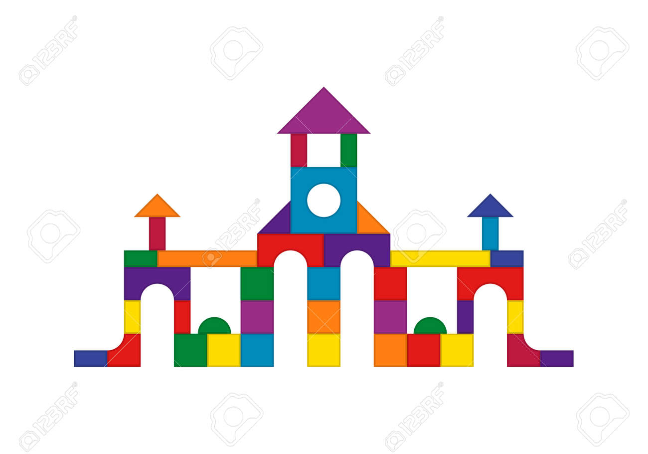 Multicolored wooden kids blocks toy details building kit. Brick parts for the construction of a children tower, castle, house. Education toys for building and playing. Vector illustration - 164753879
