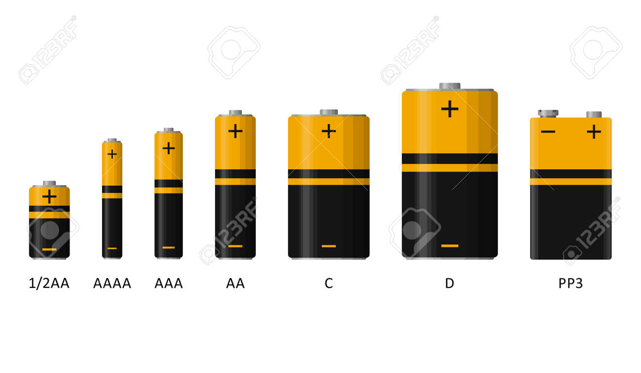 Alkaline battery set with different sizes isolated on white background. Rechargeable batteries flat modern style. Vector illustration - 166022689