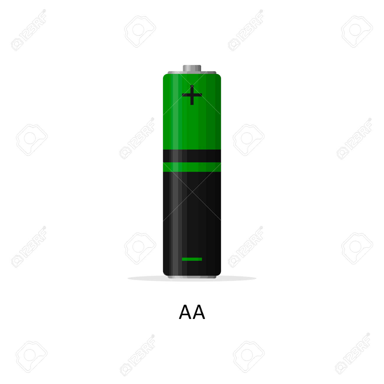 Alkaline battery AA isolated on white background. Rechargeable battery energy storage cells flat modern style. Vector illustration - 166023029