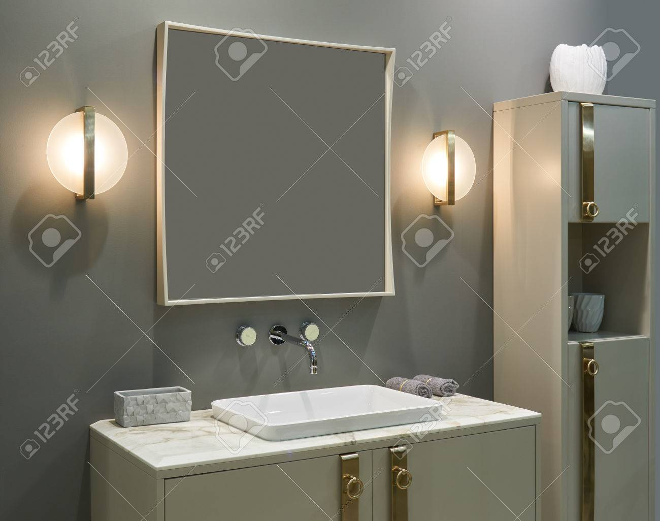 Luxury Interior Bathroom Wall Mounted Mixer Inset Washbasin Stock Photo Picture And Royalty Free Image Image 75500200