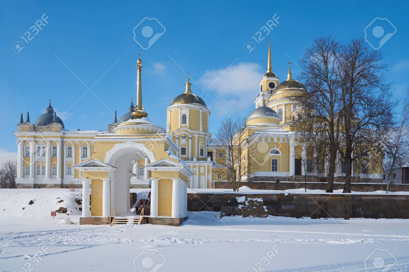 Winter view of russian orthodox monastery of the Nilo-Stolobenskaya