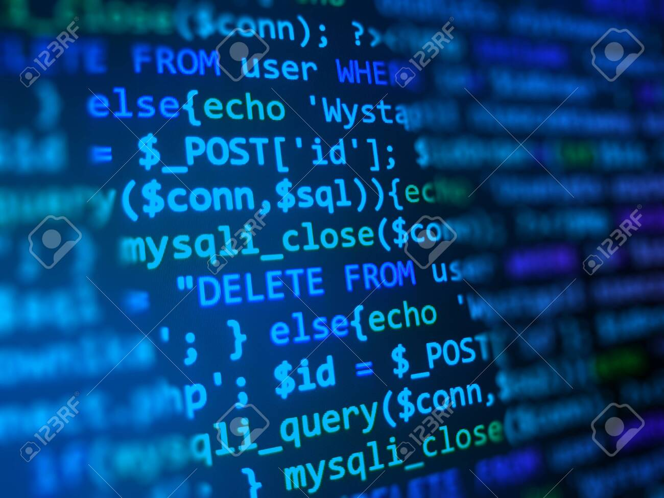 Code development concept. Blue computer monitor. Programming background. Software developer closeup. - 151501067
