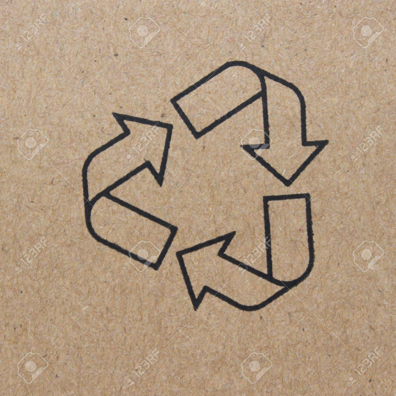 cardboard box background with recycle symbol Stock Photo - 16505149