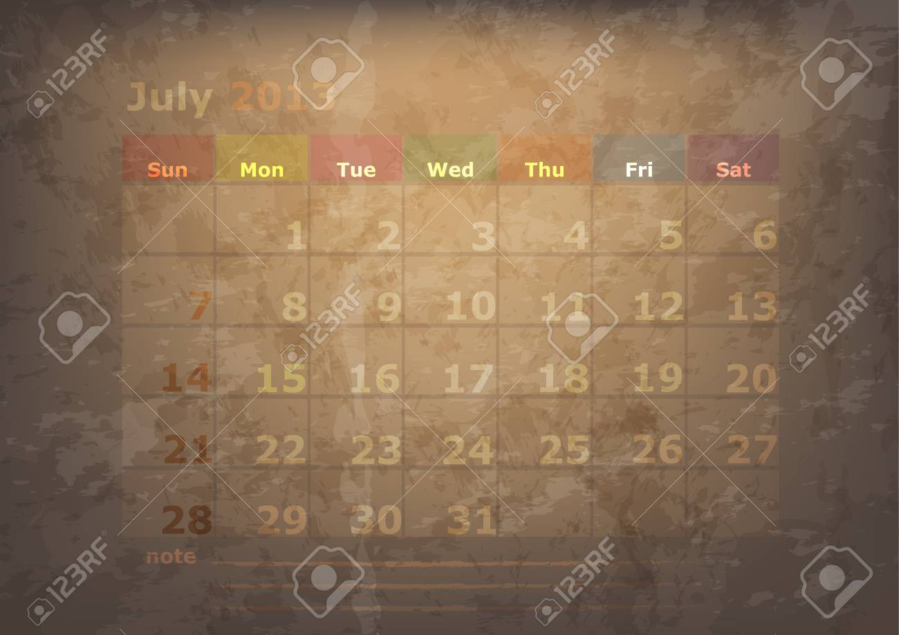 antique calendar of July Stock Vector - 17289918