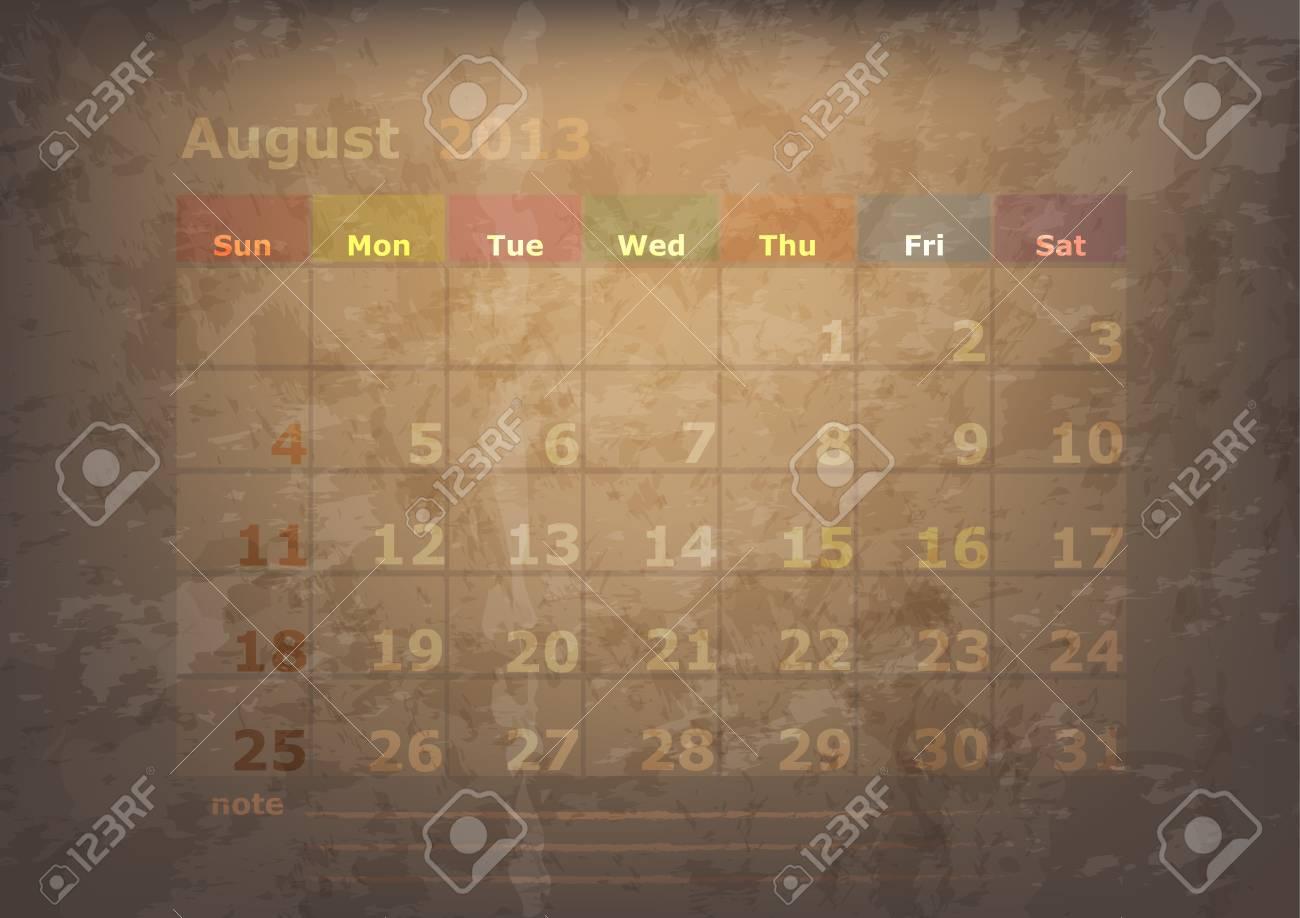 antique calendar of August Stock Vector - 17289921