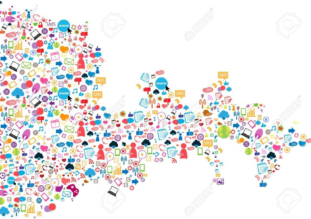 Social network background with media icons  Vector illustration Stock Vector - 19635518