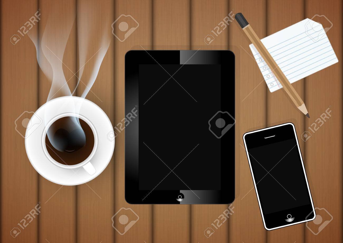Digital tablet with coffee cup and phone on table vector royalty digital tablet with coffee cup and phone on table vector stock vector 29980367 geotapseo Gallery