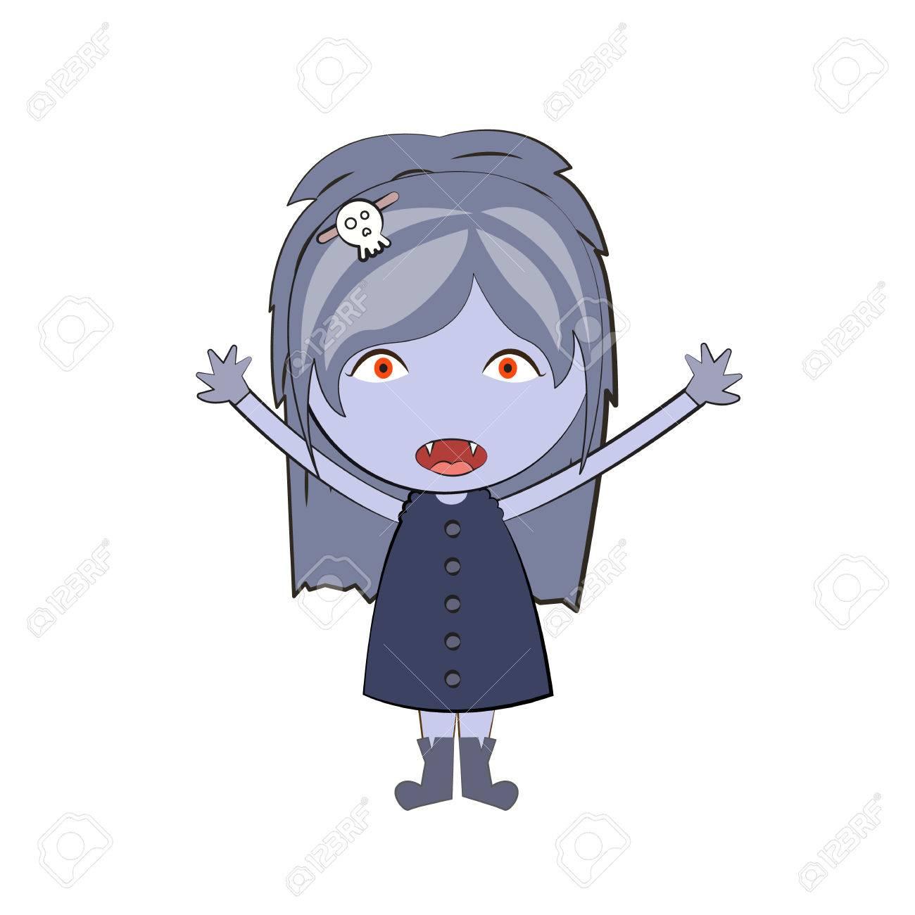 Cartoon Happy Vampire Girl Cute Doodles Drawings Royalty Free