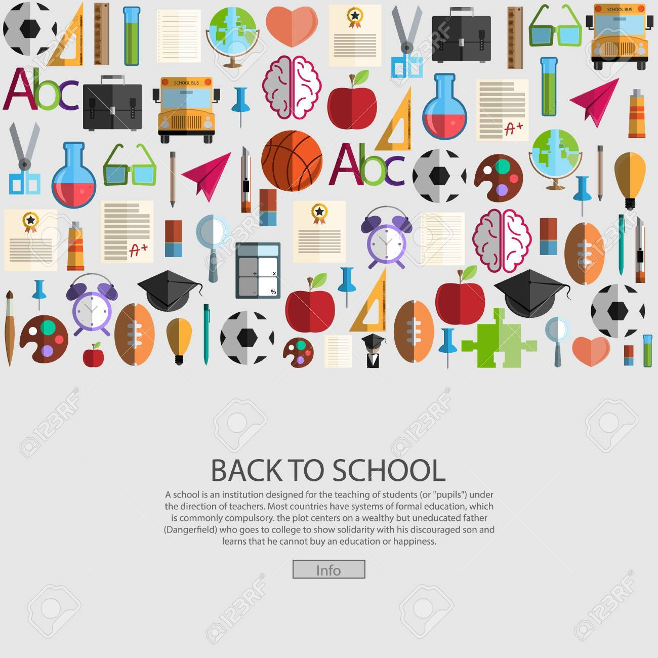 Back to School icon background, illustration vector. - 42234705