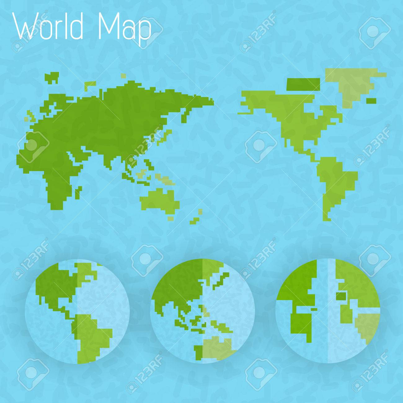 World Map 8 Bit Air And Compass Of Vector Royalty Free Cliparts