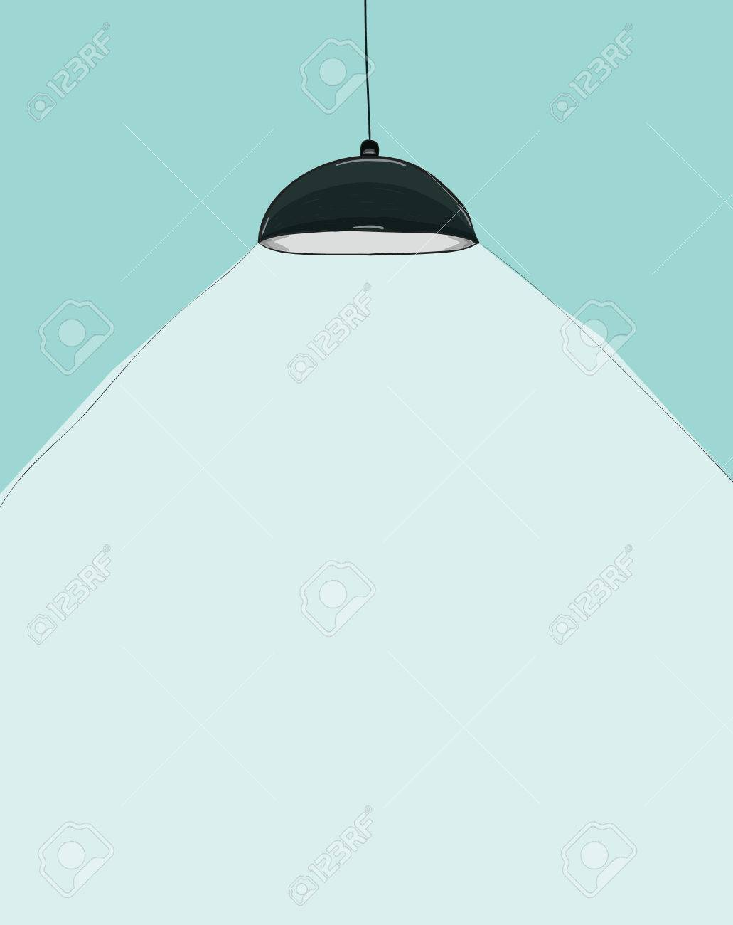 Black Ceiling Lamp Cartoon Drawing By Hand Vector Stock