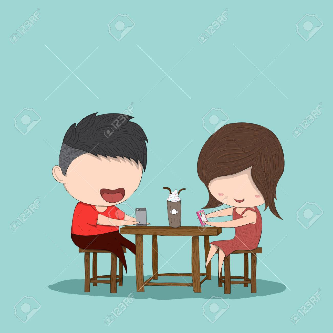 Male And Girl Teens Playing With Phone At Coffee Shop, Drawing By Hand  Vector Stock