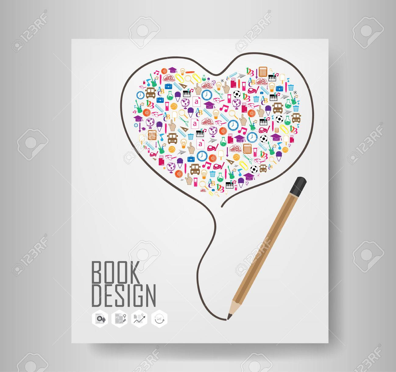 Pencil draw heart template design with heart back to school pencil draw heart template design with heart back to school seamless book illustration stock vector ccuart Image collections