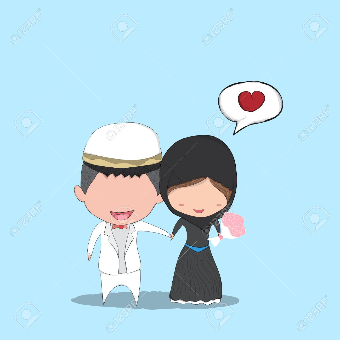Cute Cartoon Wedding Couple Men And Women Islam Marriage Cute