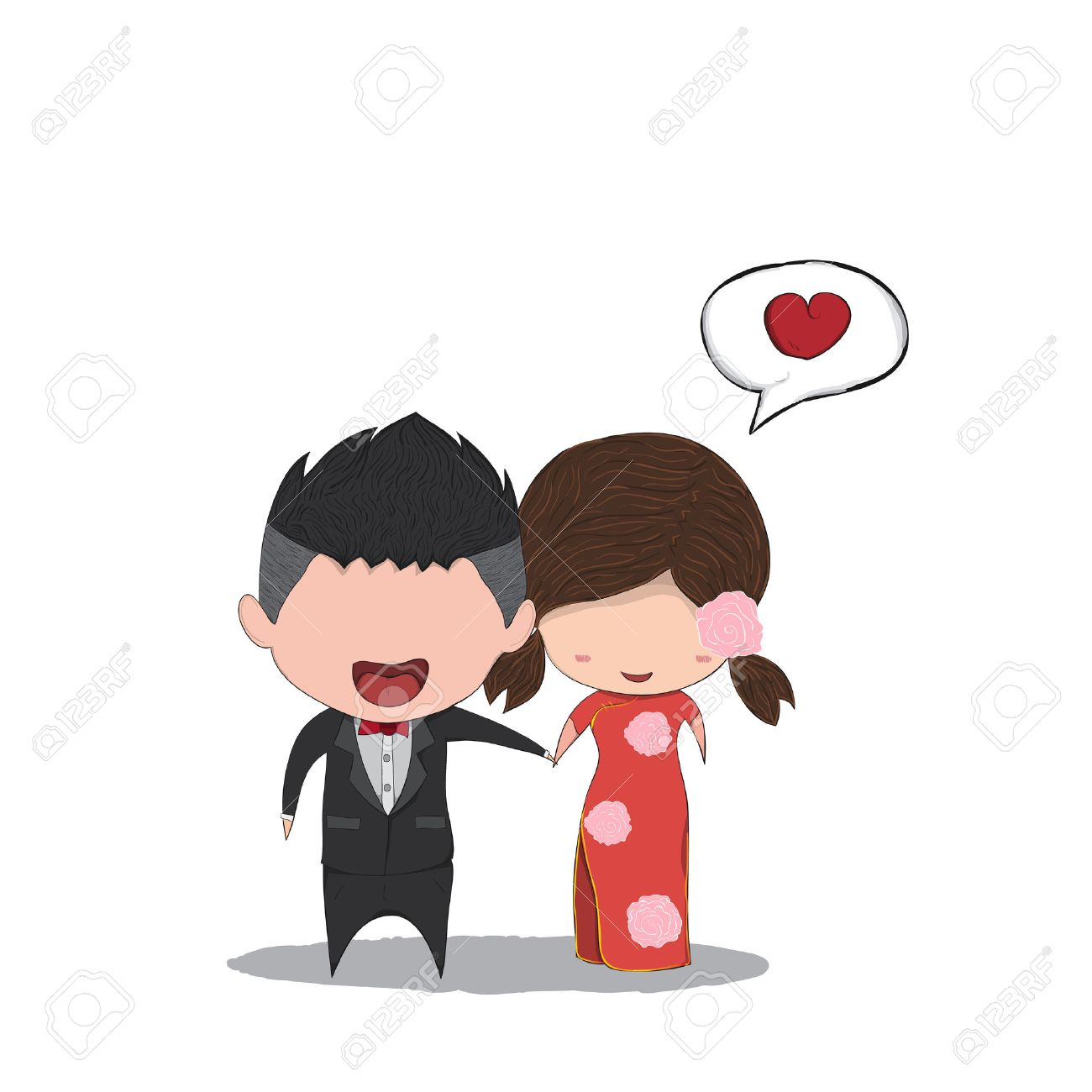 Cute Cartoon Wedding Couple Men And Women Chinese Marriage Cute – Valentines Day Cards for Men