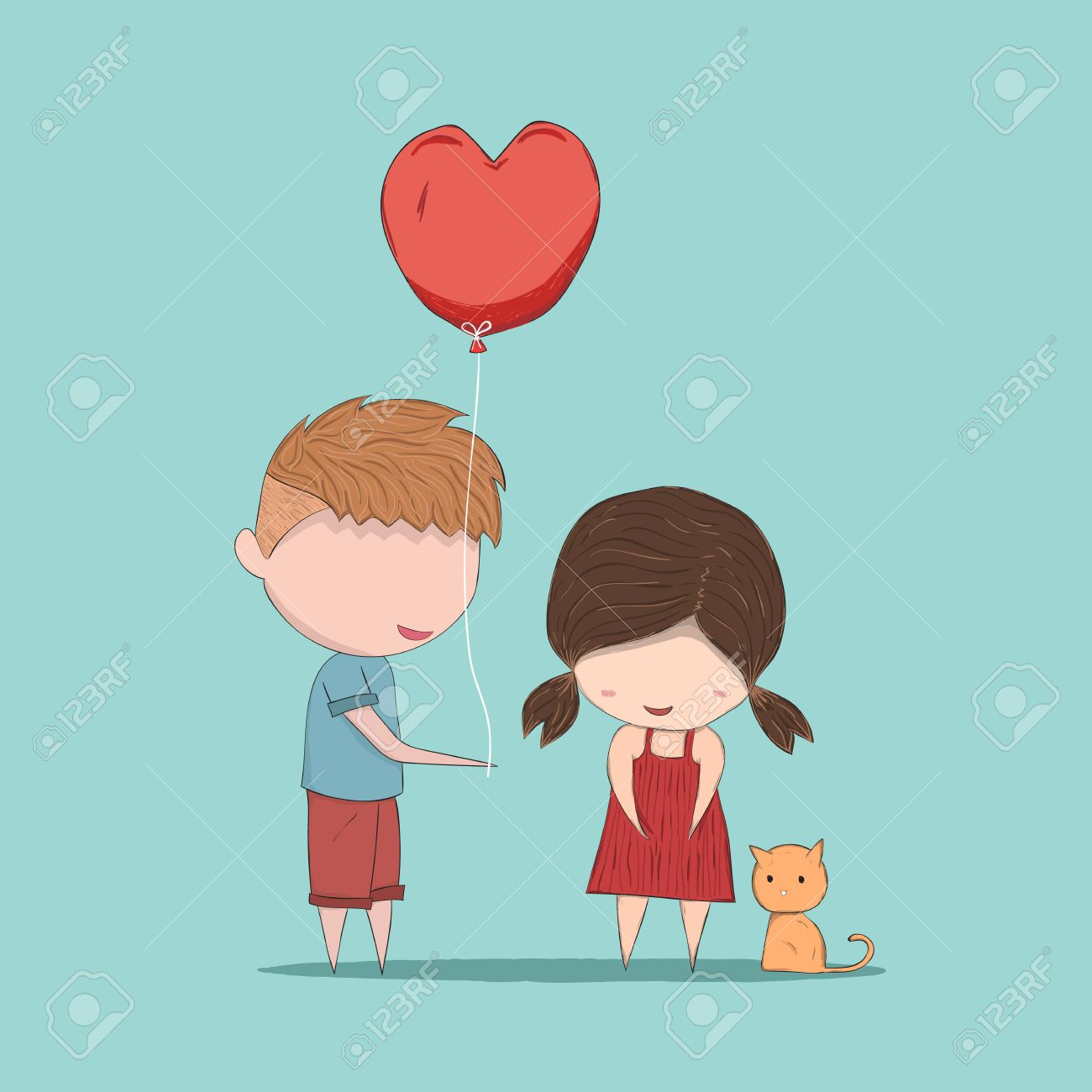 Boy Heart Shaped Balloons Gives Girl And Cat Cute Valentine S