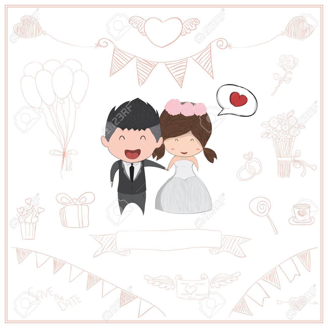 Cute Cartoon Wedding Couple Men And Women Card Cute Valentine S
