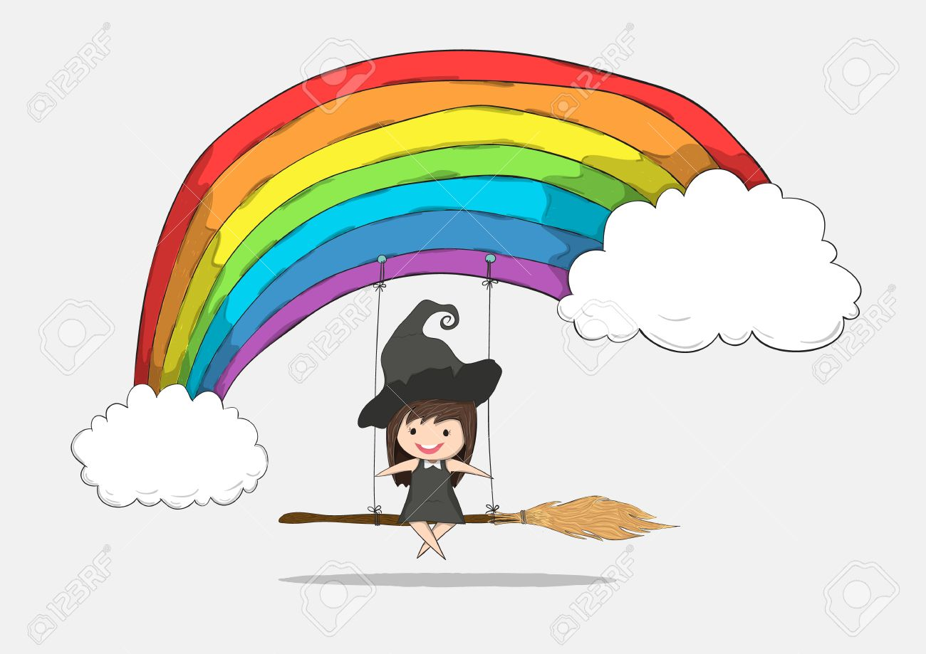 vector witch cute swinging on a broom and rainbow and penguin cute halloween character drawing by hand vector