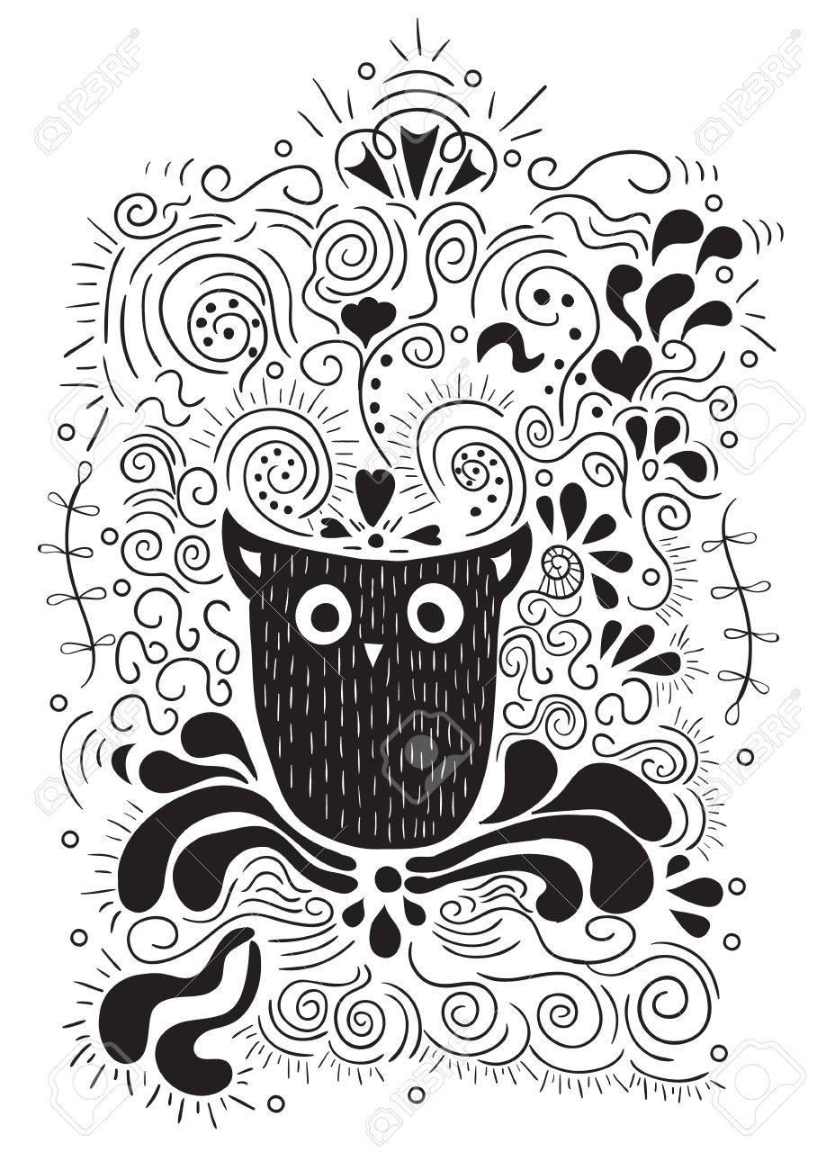 Halloween Del Búho Letras De La Mano La Bandera Y Adornos Esta Noche Es Una Fiesta Muy Aterrador Cartel O Impresión Dibujo De Vector De La Mano Ilustraciones Vectoriales Clip Art Vectorizado
