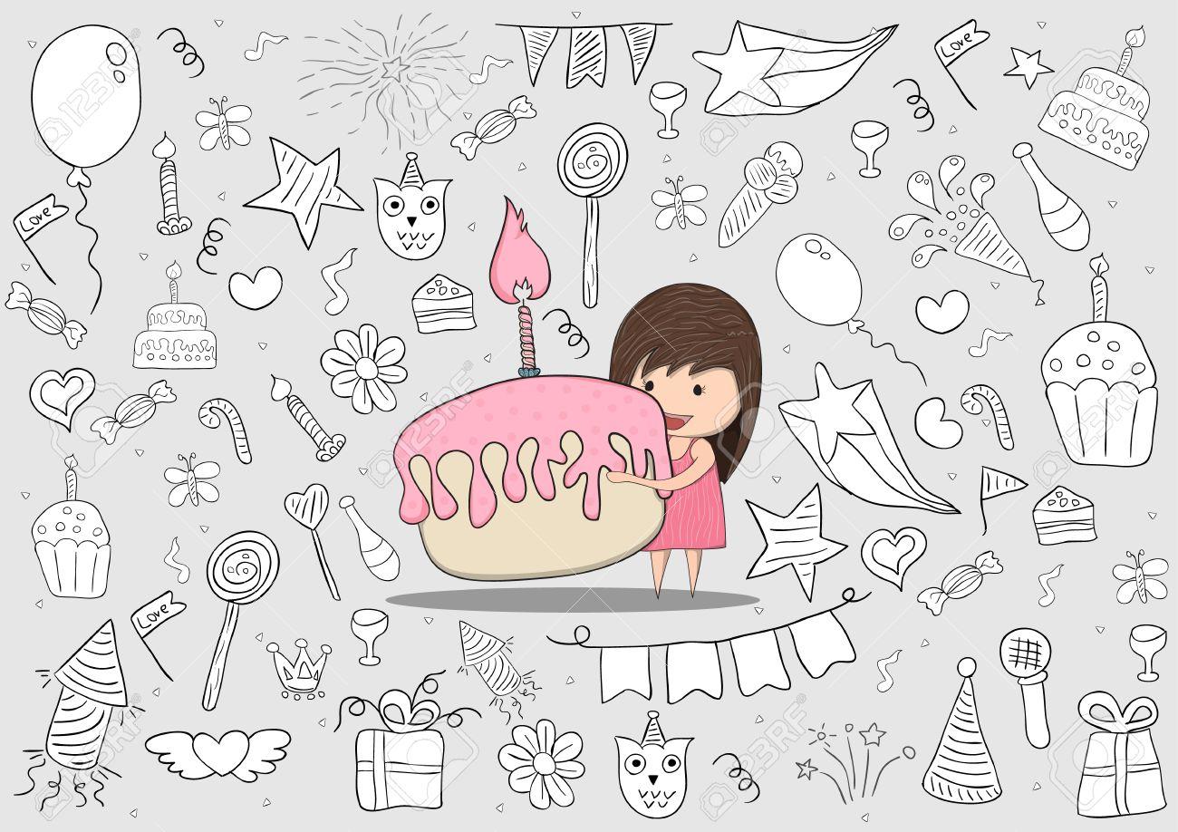 Madchen Mit Geburtstags Kuchen Auf Alles Gute Zum Geburtstag Doodles