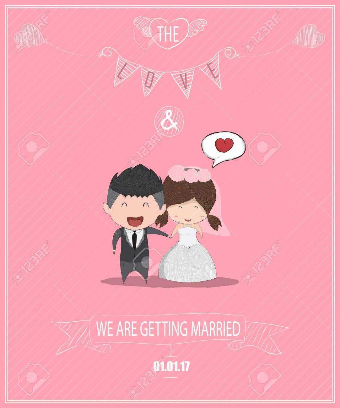 Duration Cute Cartoon Wedding Couple Men And Women Card Cute Royalty Free Cliparts Vectors And Stock Illustration Image 90775535