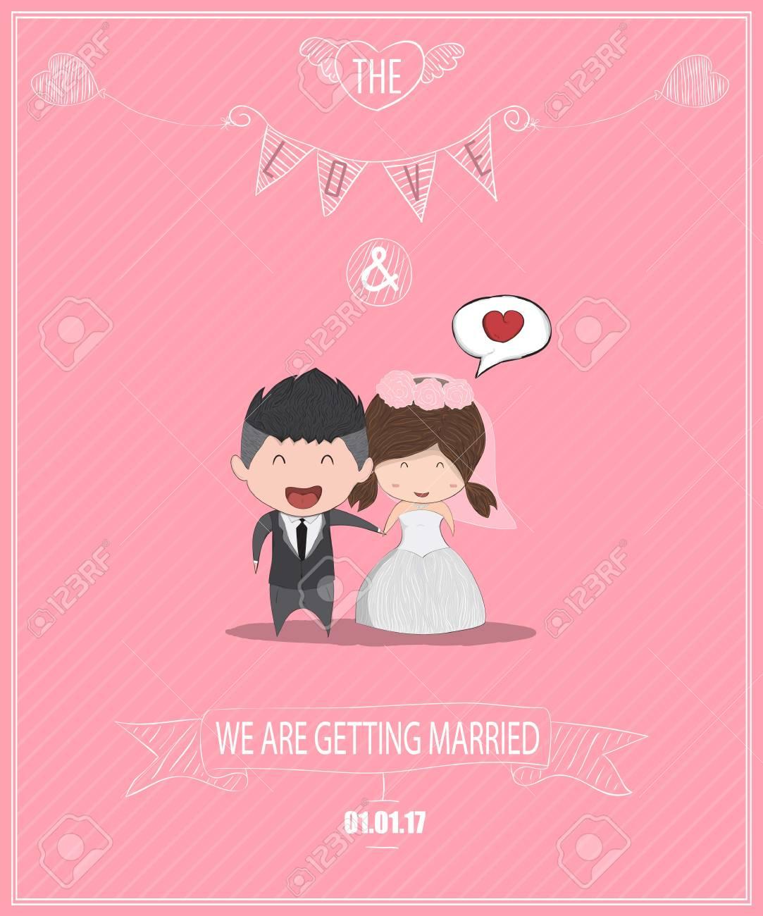 Duration Cute Cartoon Wedding Couple Men And Women Card Cute