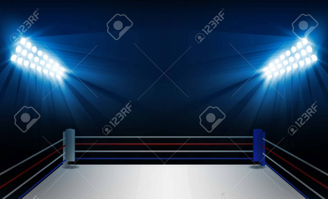 Boxing ring arena and floodlights vector design. Vector illumination - 93618935