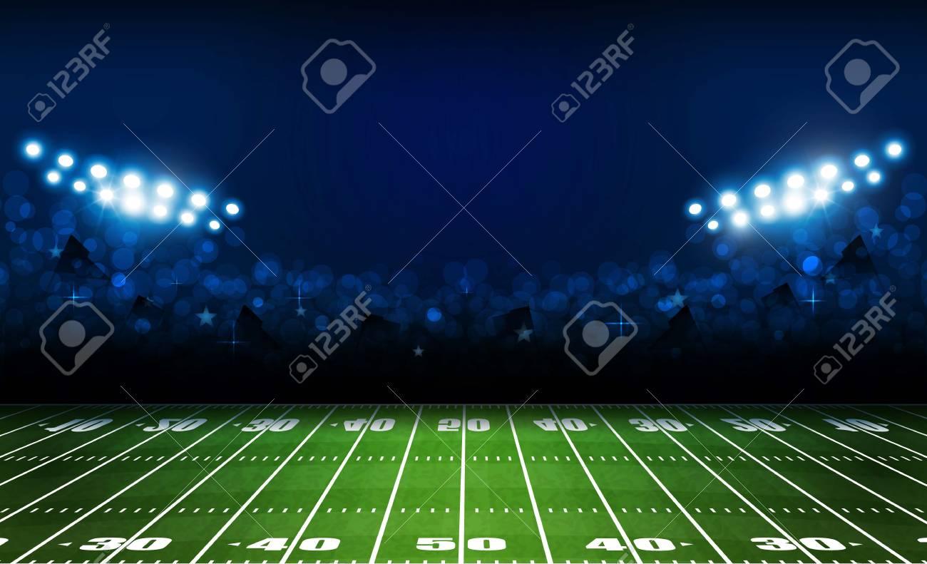 American football arena field with bright stadium lights design. Vector illumination - 102733288